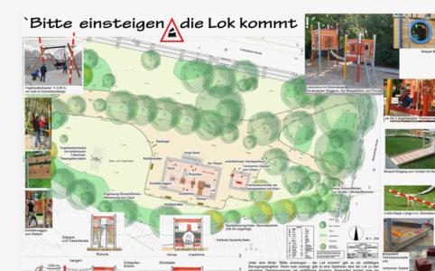 Spielplatz Ludwig-Beck-Straße -Entwurf Lokomotive Quelle: Stadt leipzig, Amt für Stadtgrün und Gewässer, Fotos: Fa. Klettermax GmbH, Domsühl