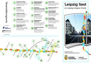 Überblick Veranstaltungsorte für das Lesefestival Leipzig liest an Leipzigs längster Straße 2019
